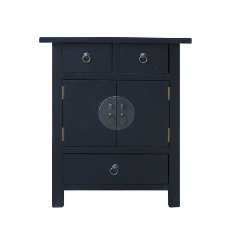 black end table - oriental nightstand - asian side table