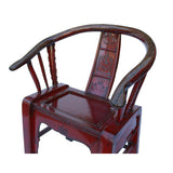Red Lacquer Oriental Horse Shoe Curve Shape Accent Fusion Chair cs5359S