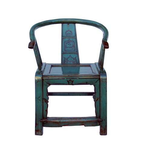 teal blue turquoise - horsehoes armchair - oriental accent chair