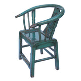 Teal Blue Lacquer Oriental Horse Shoe Curve Shape Accent Fusion Chair cs5370S