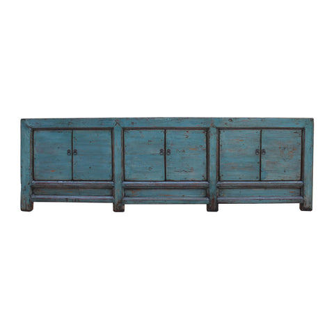 teal blue - low long tv console - long cabinet