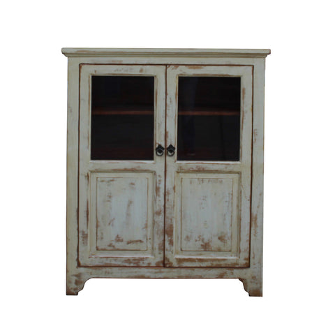 glass door cabinet - distressed white cream cabinet - storage chest