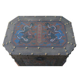 Chinese Distressed Veneer Yellowish Brown Dragon Motif Trunk Table cs5380S