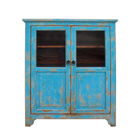 bookcase - curio cabinet - distressed blue lacquer