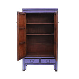 Chinese Distressed Purple Tall Wedding Armoire Wardrobe TV Cabinet cs5387S