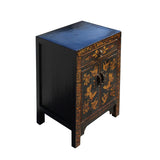 Black Lacquer Golden Butterflies End Table Nightstand cs5396S