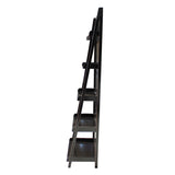 Distressed Black 5 Shelves Triangle Ladder Shape Bookcase Display Cabinet cs5398S