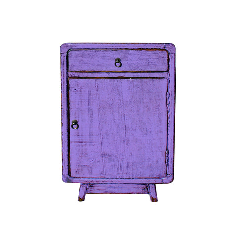purple lacquer - retro end table - nightstand