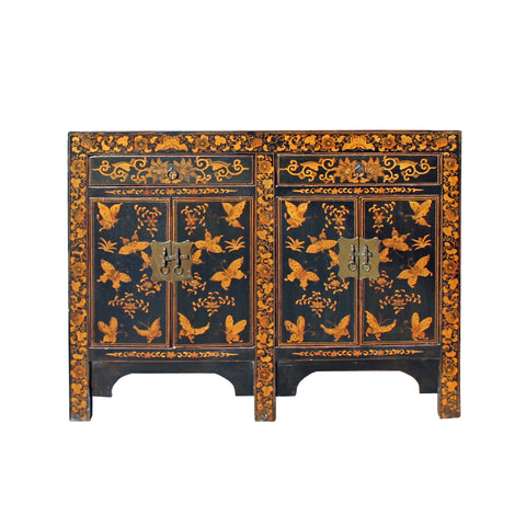 console table - golden butterflies - credenza cabinet