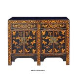 Chinese Black Golden Butterflies Oriental Graphic Side Table Cabinet cs5403S