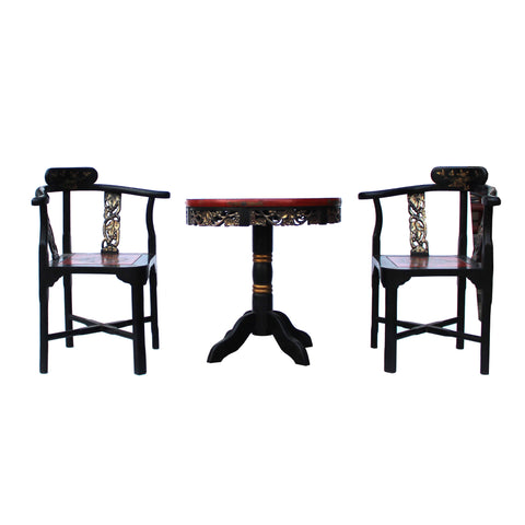 lacquer chairs - armchair set - tea table chair set
