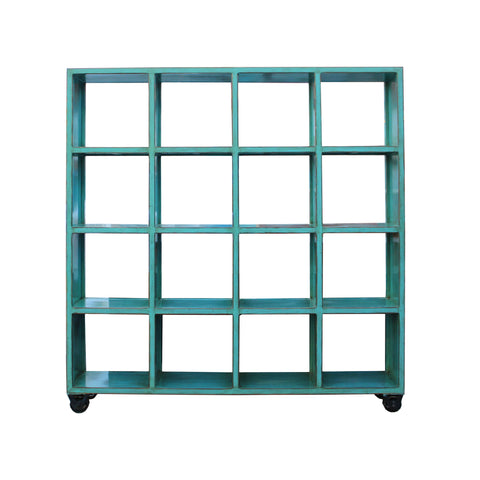bookcase - display cabinet - distressed turquoise