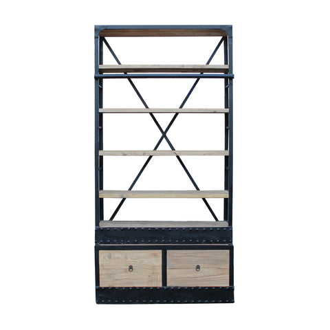 industrial style - bookcase - driftwood display cabinet