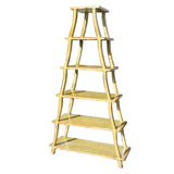 yellow lacquer - ladder shape cabinet - display bookcase