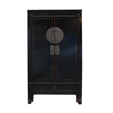 wedding cabinet - Black lacquer armoire - Chinese Moonface cabinet