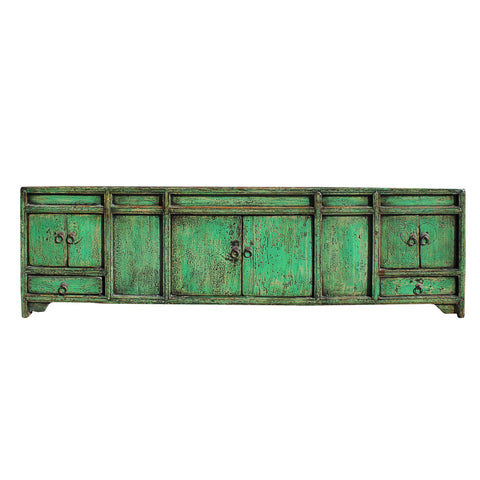 low tv cabinet - distressed teal green  - avocado green