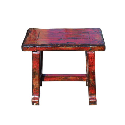 red lacquer -  wood stool - side table