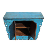 Chinese Rustic Rough Wood Distressed Blue Side Table Cabinet cs5426S