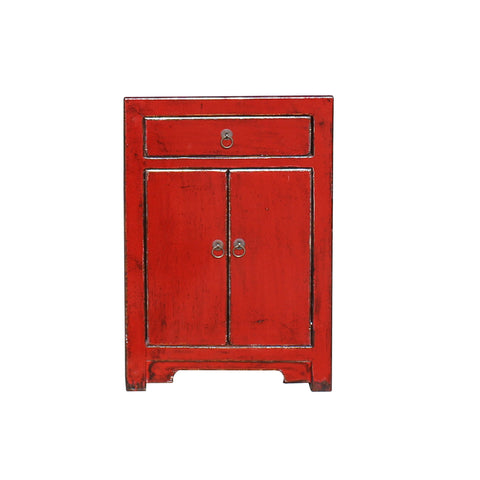 red lacquer - end table - nightstand
