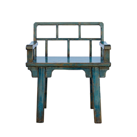 teal blue - wood bench - stool with back