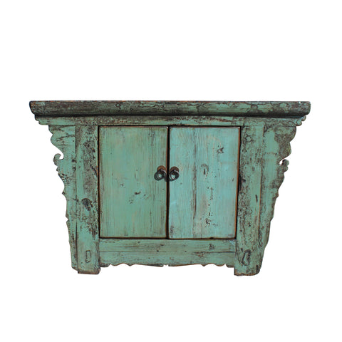 turquoise green - low cabinet - wood chest table