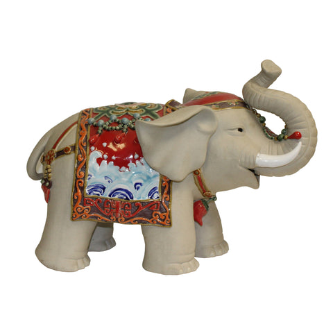 ceramic elephant - oriental elephant figure - trunk up elephant