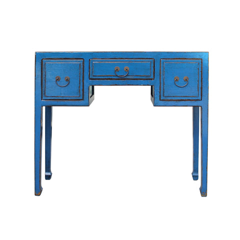 blue lacquer table - foyer desk - make up desk table