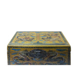 Chinese Distressed Yellow Dragons Graphic Rectangular Shape Box cs5457S