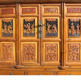 Chinese Brown Open Panel Relief Carving Storage Stack Cabinet cs5460S