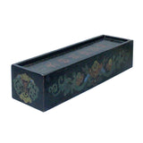 Chinese Distressed Black Lacquer Chinoiserie Long Rectangular Treasure Box cs5462S