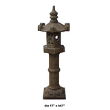 Oriental Zen Gray Stone Hexagon Tower Garden Lantern Statue cs5465S
