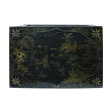 Distressed Black Lacquer Golden Graphic Rectangular Wood Stand Display cs5470S