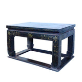 Distressed Black Lacquer Red Graphic Rectangular Wood Stand Display cs5471S