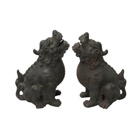 iron foo dogs - metal lions - fengshui lions