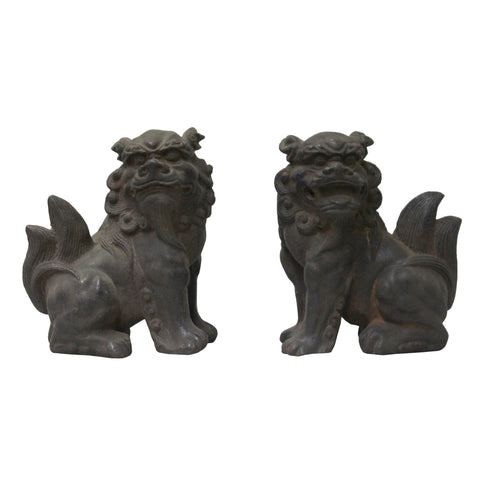metal foo dogs - iron lions - fengshui lions
