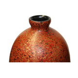 Handmade Orange Multi-Layer Lacquer Abstract Pattern Wood Vase Display cs5481S