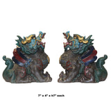 Chinese Pair Metal Color Painted Forture Fengshui Pixiu Figures cs5509S