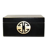 rectangular box - black accent box - oriental leather box