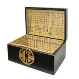 Oriental Round Hardware Black Rectangular Container Box Medium cs5515BS