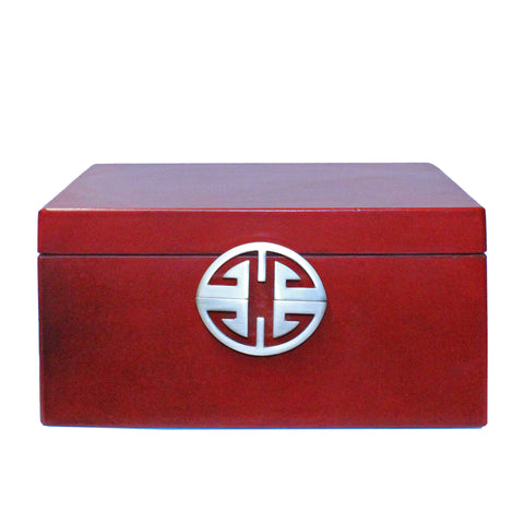 rectangular box - red lacquer box - oriental storage box