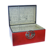 Oriental Round Hardware Red Rectangular Container Box Small cs5516AS