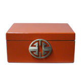 chinese leather box - orange rectangular box - oriental storage