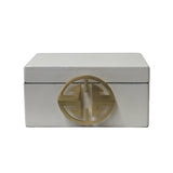white lacquer box - rectangular box - oriental storage box