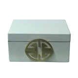 Oriental Round Hardware White Rectangular Container Box Medium cs5518BS