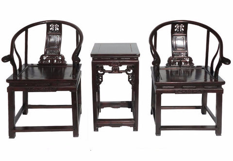 Chinese Vintage Rosewood Horseshoes Back Armchair Set cs551S