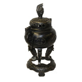 Chinese Oriental Dark Brown Bronze Metal Incense Burner Display cs5528S