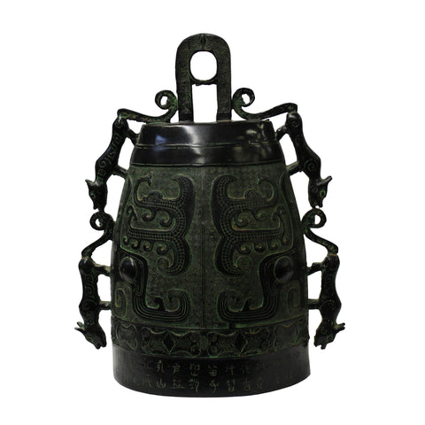 green bronze vessel - metal figure - ancient metal art