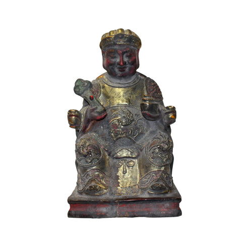 chinese home guardian - wood statue - oriental deity figure