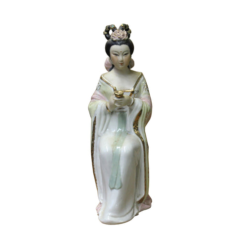 ceramic lady figure - oriental clay figure - porcelain lady figure