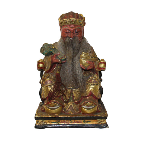 wood figure - god of fortune - Chinese deity figure
